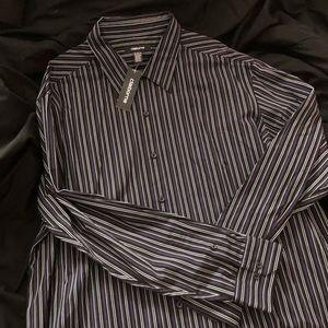 Claiborne B/W & Purple Striped Dress Shirt XXL NWT